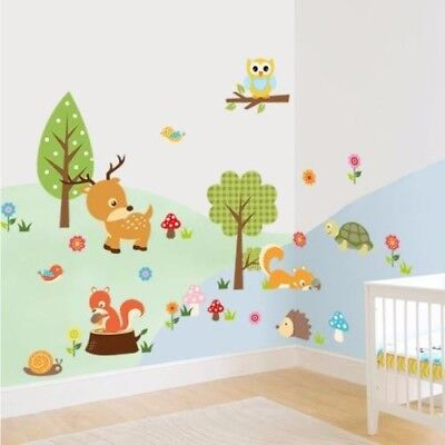 Forest Animals Owl Squirrel Children's Room Bedroom Background Wall Sticker 1731 • 5.99£