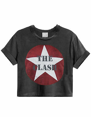 £20.99 • Buy Amplified The Clash Logo Charcoal Women's Ladies Cropped Tee T-Shirt