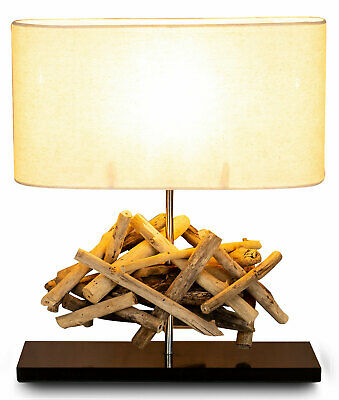 Table Lamp Height 42cm Driftwood Desk Wood Teakwood Deco Decoration • 48£
