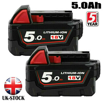 2X18V For Milwaukee M18 M18B5 Lithium 5.0AH Extended Capacity Battery 48-11-1828 • 38.99£