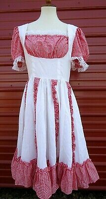 $29.99 • Buy Vintage Handmade Square Dance Dress Red White Gingham Peasant Ruffles Lace