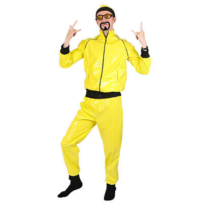 Mens 90's Rapper Costume Yellow Tracksuit Gangster Novelty Adults Fancy Dress  • 24.99£