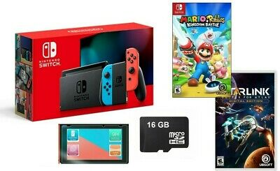 $549.99 • Buy NEW Nintendo Switch Bundle 2 FREE GAMES Rabbids + Starlink + MicroSD Card +MORE!