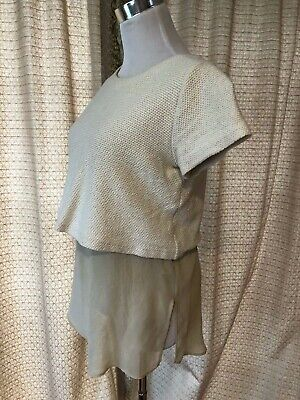 $9.99 • Buy Zara Knit Cream Tan Short Sleeve Sweater Top Blouse With Layers Size Small
