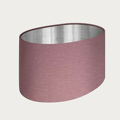 £45.50 • Buy Lampshade Mauve Textured 100% Linen Brushed Silver Oval Light Shade