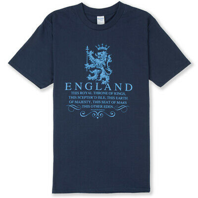 ENGLAND T-SHIRT  THRONE OF KINGS  St George's Day, Sizes Up To 4XL, Shakespeare • 14£