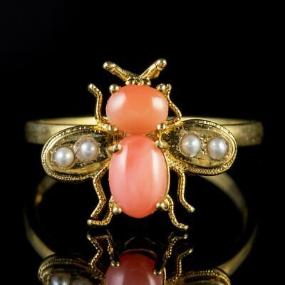 Coral Pearl Bee Ring 18ct Gold On Silver • 295£