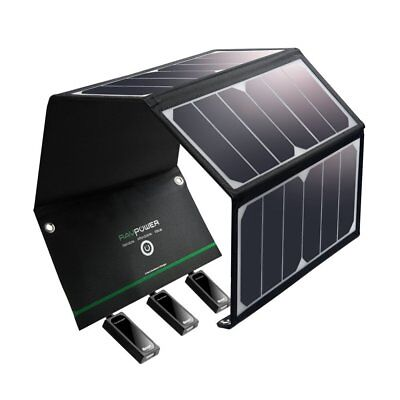 New Ravpower 24w Solar Panel Charger W/ 3 Usb For Hiking, Iphone, Galaxy & More • 82.43£