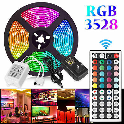 $5.53 • Buy 16FT Flexible Strip Light 3528 RGB LED SMD Remote Fairy Lights Room TV Party Bar