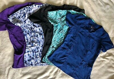 $10 • Buy Barco One Women Scrub Tops - XS; Purple, Blue Marble, Black, Green, Navy