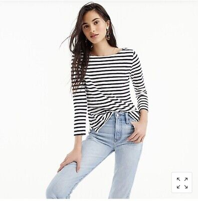 $16.99 • Buy J.CREW WOMEN'S STRIPPED BOATNECK ALL COTTON T-SHIRT Size XL