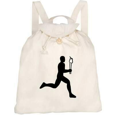 'Olympic Torch Runner' Canvas Rucksack / Backpack (RK00012035) • 14.99£