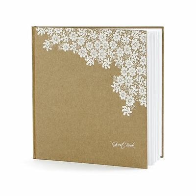 Wedding Guest Book Kraft Brown White Floral Lace Design 22 Pages Rustic • 12.95£