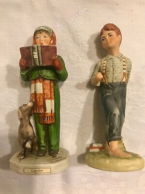 $ CDN22.07 • Buy NORMAN ROCKWELL   Caroler  &  Schoolboy  Figurines BY DAVE GROSSMAN 1973