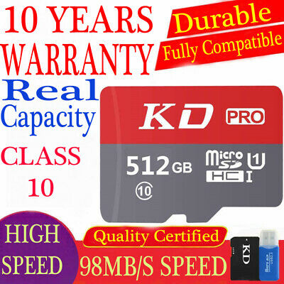 $40 • Buy 512GB Micro SD Memory Card Class 10 SDXC Real Capacity TF Cards With Warranty