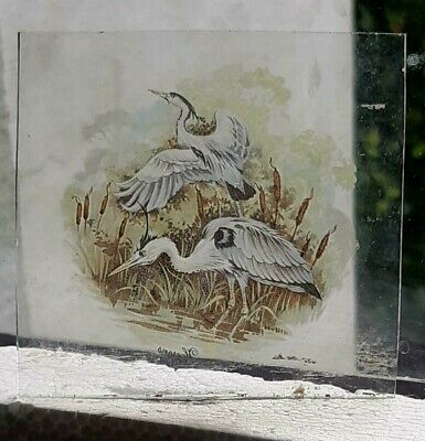 Stained Glass Herons Kiln Fired Transfer Insert  8 Cm X 7.5 Cm • 9.99£
