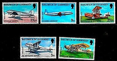 Guernsey 1973 50th Anniversary Of Air Service MNH (5) • 0.50£