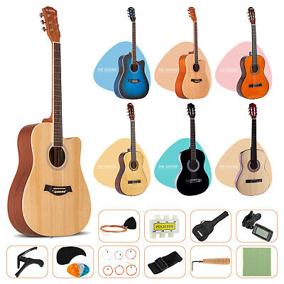 "AU109.90 • Buy 38"" 41"" Acoustic Guitar Beginner Wooden Classical Folk W/Bag Strap String Pick"