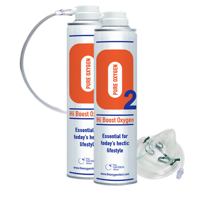 O2 Oxygen In A Can 20L (2 X 10L) With Tubing And Mask Canned Portable • 29.99£