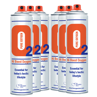 6 X 10L Pure Canned Portable Oxygen In A Can Canister 99.5% Pure Sports Therapy • 59.99£