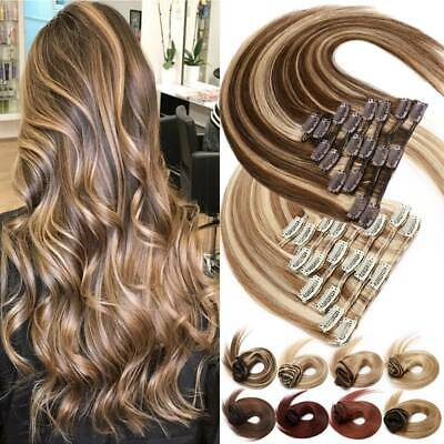 Russian Remy Clip In Human Hair Extensions Platinum Highlight Full Head 8-24  UK • 15.27£