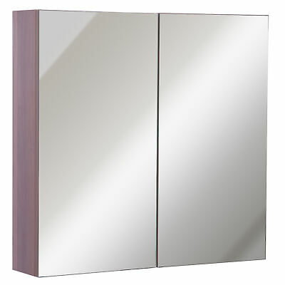 Bathroom Mirror Cabinet 2 Door Storage Cupboard Wall Mountable Shelf Organiser • 68.99£