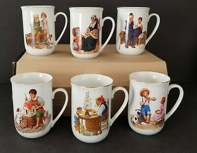 $ CDN19.99 • Buy Norman Rockwell Collectible Coffee Tea Mugs Vintage Set Of 6 1982