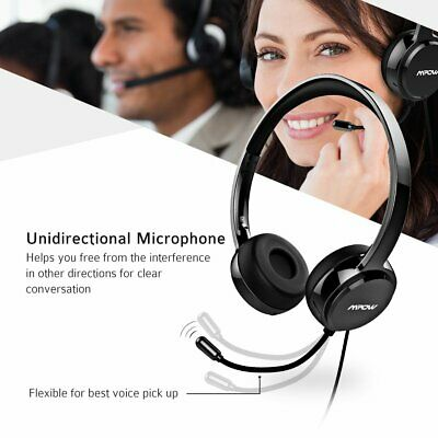 Mpow 3.5mm/USB Wired Headset Headphones Mic For Skype PC Computer Call Center UK • 23.39£