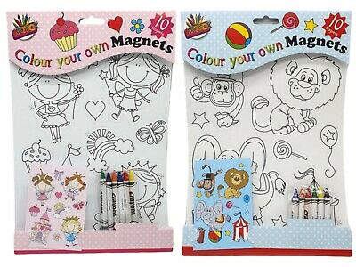 A4 Paint Your Own Magnets Colouring Book With 6 Crayons Pens Fun Animal Art • 2.84£