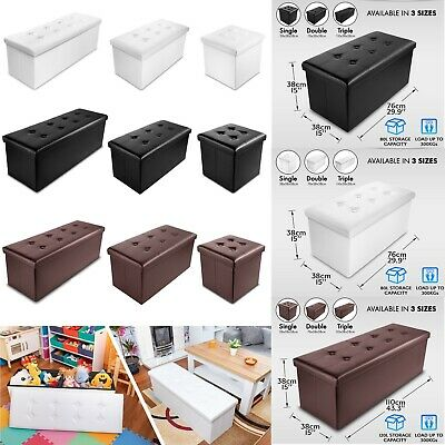 Faux Leather Folding Storage Box Ottoman Seat Stool Storage Boxes Home Footstool • 27.90£