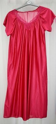 Ladies Cerise Red Satin Nightie Nightdress Retro Vintage Style, Long Length, NEW • 9.49£