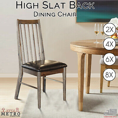 AU1599 • Buy New PU Leather Seat Dining Chairs Acacia Wood High Back Slats Premium Chair
