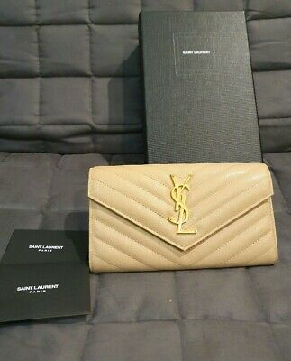AU630 • Buy Ysl Flap Wallet Beige And Gold Authentic Wallet