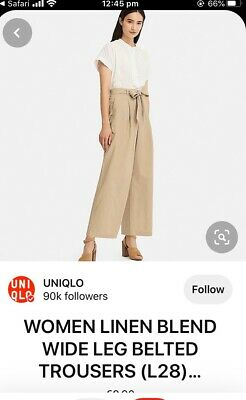AU9 • Buy Uniqlo Womens Belted Linen Cotton Wide Straight Pants In Beige Size M