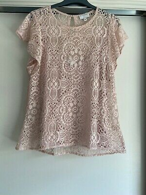 AU25 • Buy Witchery Womens Lace Flutter Sleeve Top Size L Pink