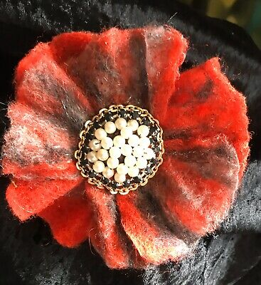 Hand Made -  Needle Felted Flower Brooch. Unique And Original.12cm.Free P&P • 7£