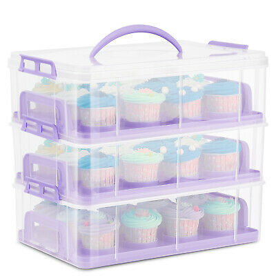 Cupcake Carrier Holder Container Box Plastic Storage Basket Courier, Purple • 32.99£
