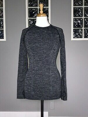 $ CDN88 • Buy Lululemon Rest Less Pullover 2 4 Heathered Black Long Sleeve Euc