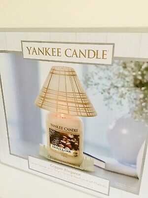 Yankee Candle Copper Elegance Large Frosted Glass Shade And Tray Set - Bnib • 24.95£