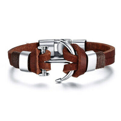 Men's Leather Silver Alloy Anchor Buckle Clasp Bracelet Surfer Wristband Gift • 3.40£