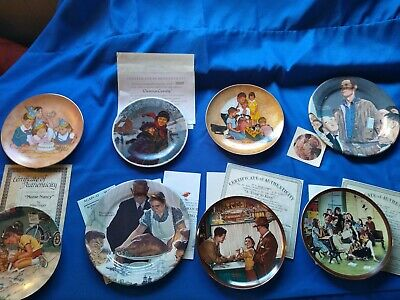 $ CDN21.07 • Buy Knowles, Bradford Norman Rockwell Plate Collection Lot Of 8 W/ COA & Boxes 1980s