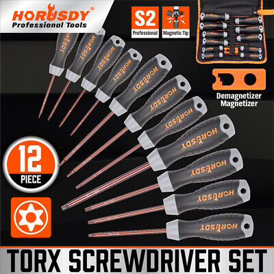 View Details 12 PC Torx Screwdriver Set Magnetic T6 - T40 Security Tamper Proof Star S2 Steel • 16.78$