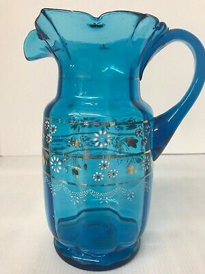 "$70.51 • Buy Antique Victorian Ruffled Pitcher Blue Glass Enamel Hand-Painted  9"" Tall"