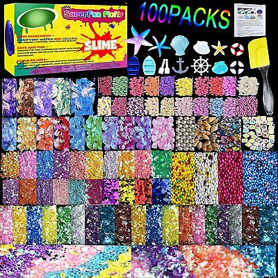 AU47.99 • Buy Kids Gift Slime Supplies Kit,100 Pack Slime Stuff Charms Floam Balls (No Slimes)