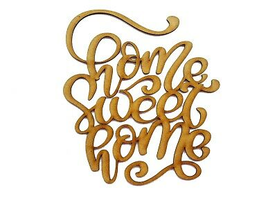 £3.49 • Buy Wooden Mdf Shape  Home Sweet Home  Word Sign Ornament Laser Cut Embellishment