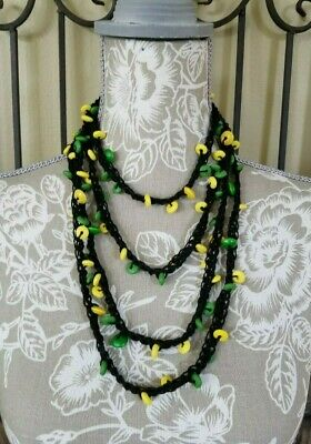 $22 • Buy Bohemian Rasta Necklace Long Beaded Necklace Green Yellow Beads N62