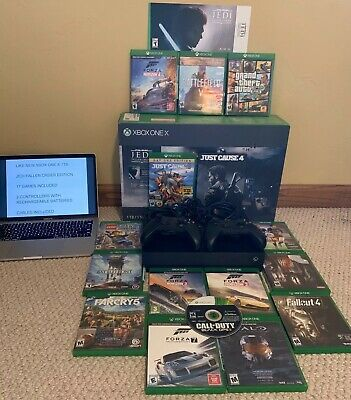 $400 • Buy Used Amazing Cond. 4k Uhd Xbox One X 1tb Jedi Fallen Order Bundle W/ 17 Games