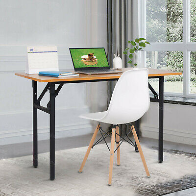 120cm Wood Folding Computer Desk Office Study Table Adjustable Legs No Assembly • 89.99£
