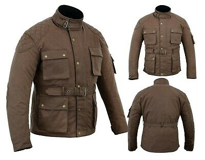 WARRIOR NEW Motorcycle Cotton Waxed WP Lined Body Armour Motorbike Bikers Jacket • 76.22£