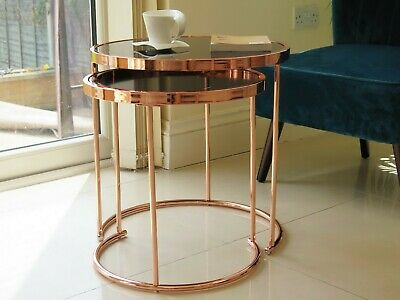 Set 2 Nesting Round Table/Coffee Side Table,Black Glass Copper Base-GNT09CP/BK • 94.99£